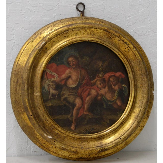 Red Italian School 17th C. Circular Painting of John the Baptist Embracing the Angus Dei W/ Two Angels For Sale - Image 8 of 8