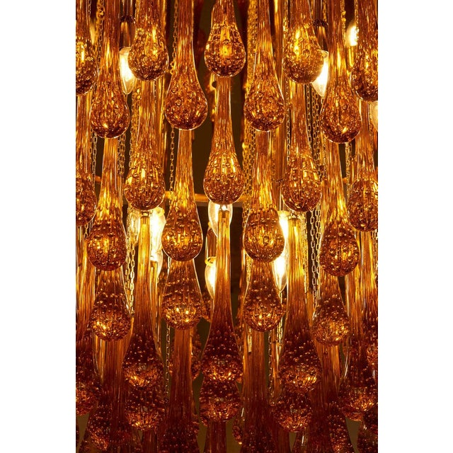 Monumental Brass and Murano Glass Tear Drop Flush Mount Attr. To Barovier & Toso For Sale - Image 10 of 13