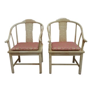 Vintage Henredon Faux Goatskin Pan Asian Campaign Dining Chairs - Pair For Sale