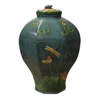 Chinese Village Vintage Wood Octagon Teal Blue Lacquer Jar Shape Display