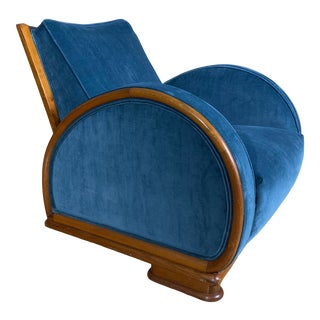 1930s Swedish Elmwood Art Deco Lounge Chair For Sale