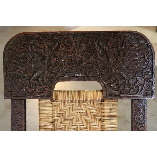 Wood Folding Carved Wood and Bamboo Chair, For Sale - Image 7 of 8