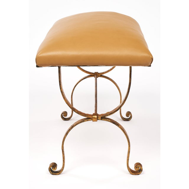 Gold Vintage Spanish Curule Style Bench For Sale - Image 8 of 10