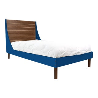 Nico & Yeye Minimo Twin Panel Bed Solid Walnut Wood and Veneers Natural Walnut and Pacific Blue For Sale