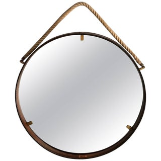 Italian Stitched Leather Round Mirror With Brass Accents and Rope For Sale
