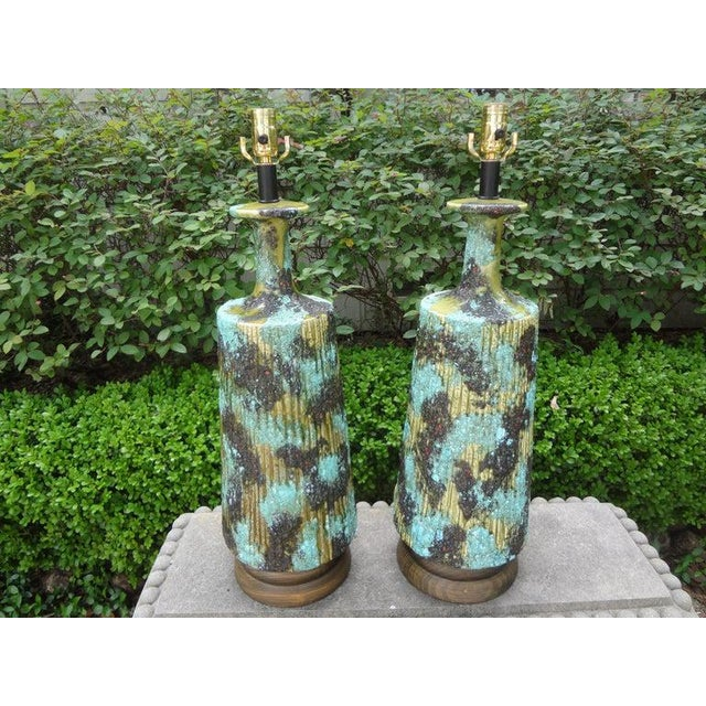 Larger Italian Bitossi Attributed Glazed Ceramic Lamps-A Pair For Sale - Image 9 of 13