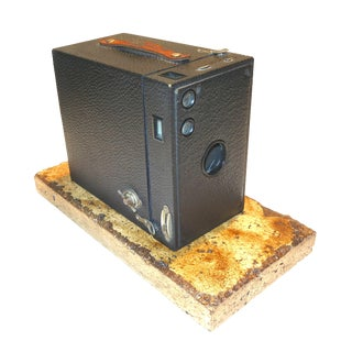 Kodak 2C Brownie Larger Box Camera on Travertine Base Circa 1917 For Sale