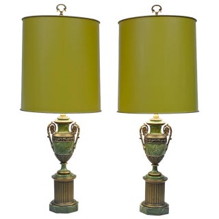 Pair of Paul Hanson Faux Malachite Table Lamps with Original Shades and Finials For Sale