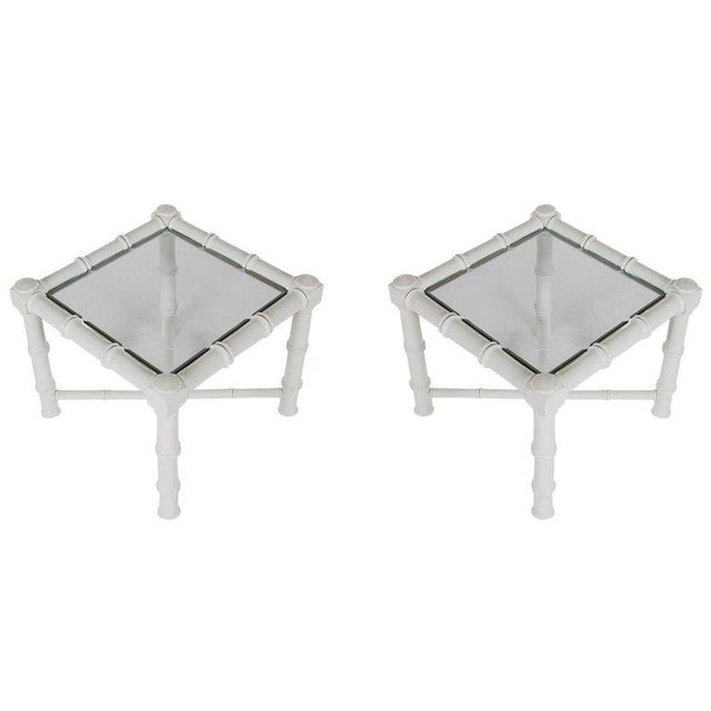 Hollywood Regency Chunky White Faux Bamboo Chinoiserie End Tables A hip and stylish matching pair of fax bamboo end or...