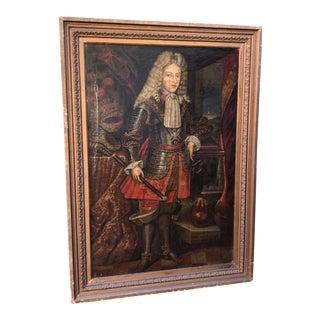 Huge Antique 18th C Spanish Portrait Painting of King Phillip V For Sale