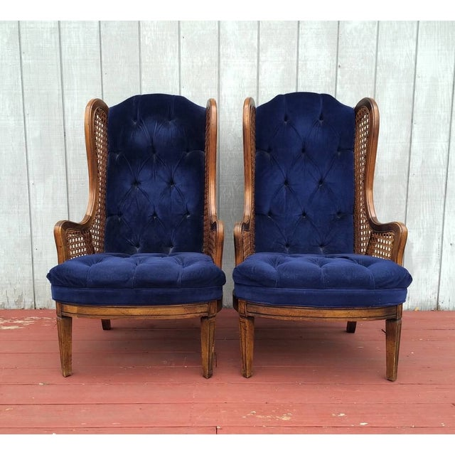 Vintage Cane Lewitte Wing Back Chairs - A Pair - Image 3 of 7