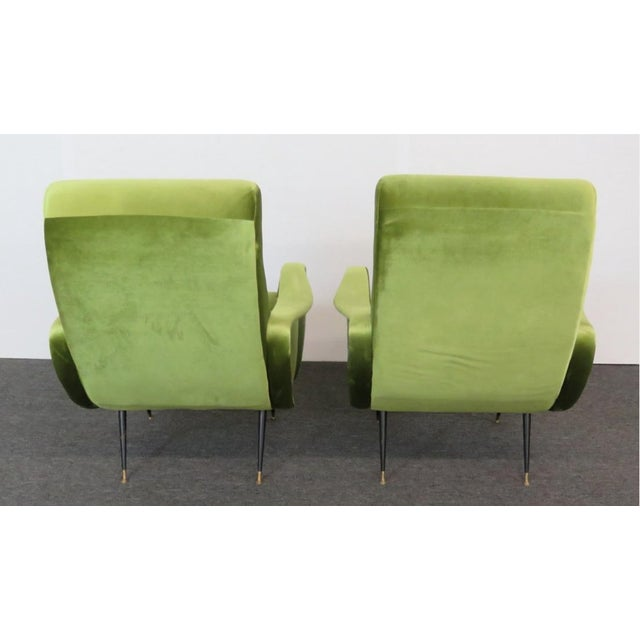 1950s Final Markdown > Mid-Century Zanuso Style Lime Green Velvet Lounge Chairs - a Pair For Sale - Image 5 of 7