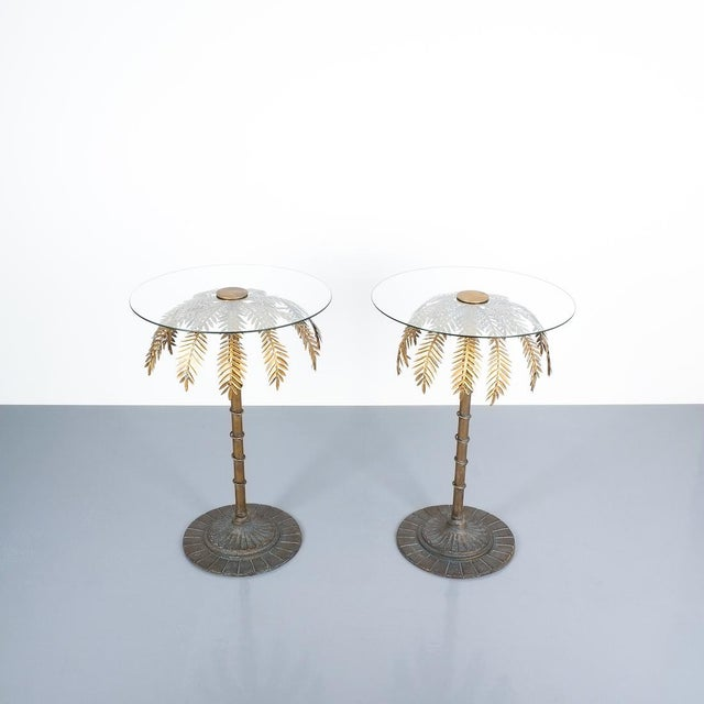 """Iron centre or side tables style Maison Charles, circa 1955. Rare and elegant 28"""" high iron palm tree tables with a..."""