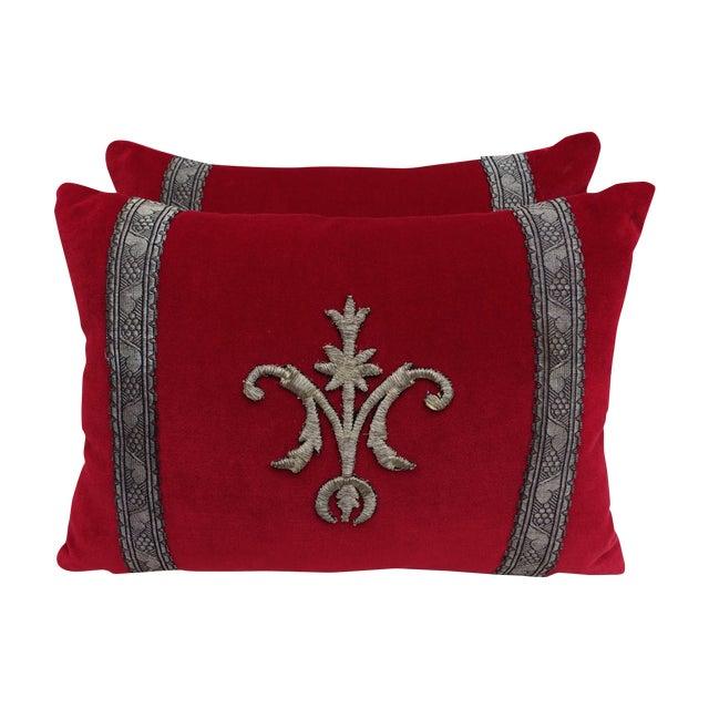 Custom Appliqued Red Velvet Pillows - A Pair - Image 1 of 4