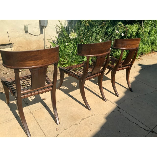 Brown Klismos Walnut Chairs - Set of 3 For Sale - Image 8 of 9
