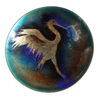 Enamel on Copper 'Egret' Decorative Plate For Sale