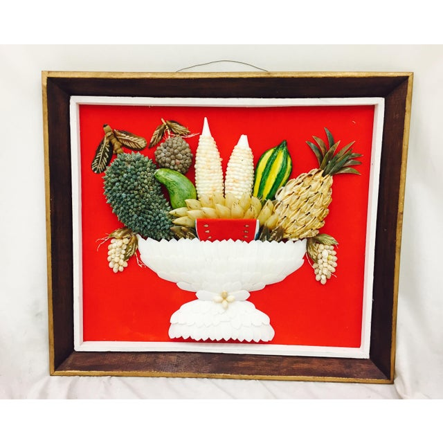 Funky Vintage Folk Art Seashell Fruit Basket Still Life Art in Hand Painted Wooden Frame. Missing some sea shells and...