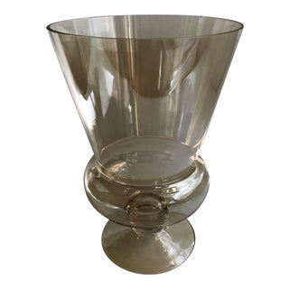 Large Footed Amber Glass Vase For Sale