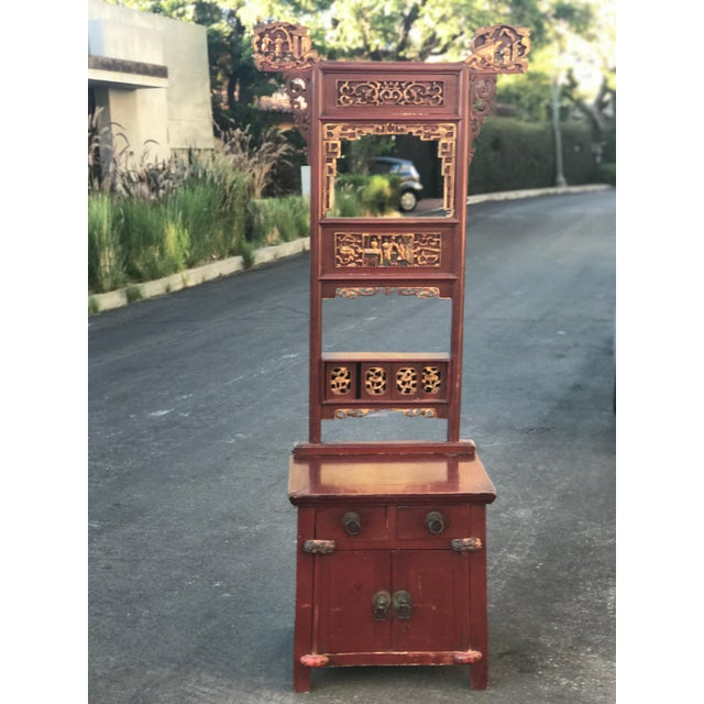Asian Distressed Red Cabinet - Image 6 of 7