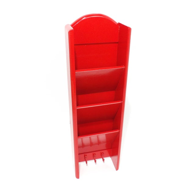 Mid-Century Modern Red Mail Key Slot Organizer For Sale - Image 11 of 11