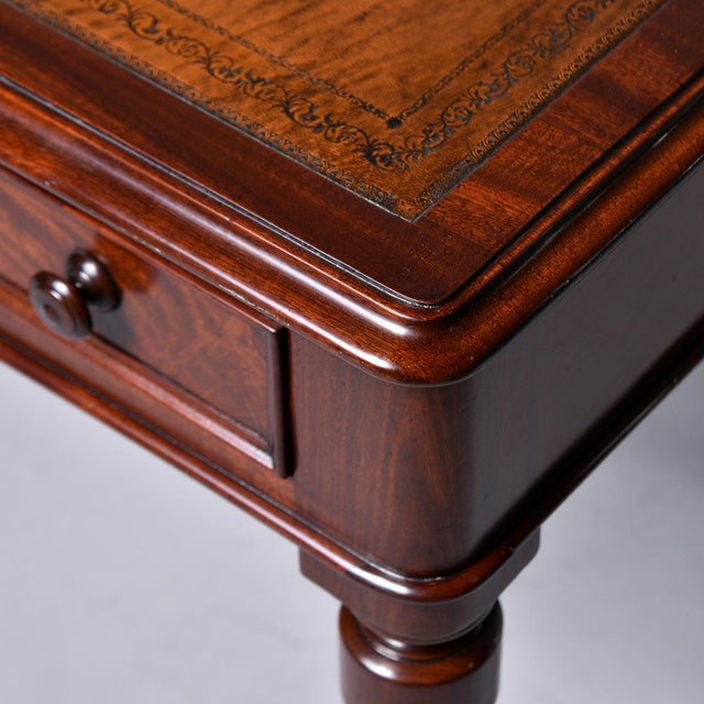 Late 19th Century English Mahogany Desk With Leather Top For Sale - Image 9 of 13