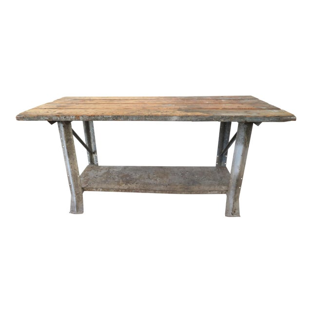 Industrial Plank Top Work Table For Sale