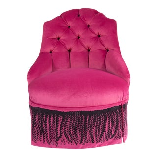 Suzan Fellman Velvet Boudoir Chair For Sale