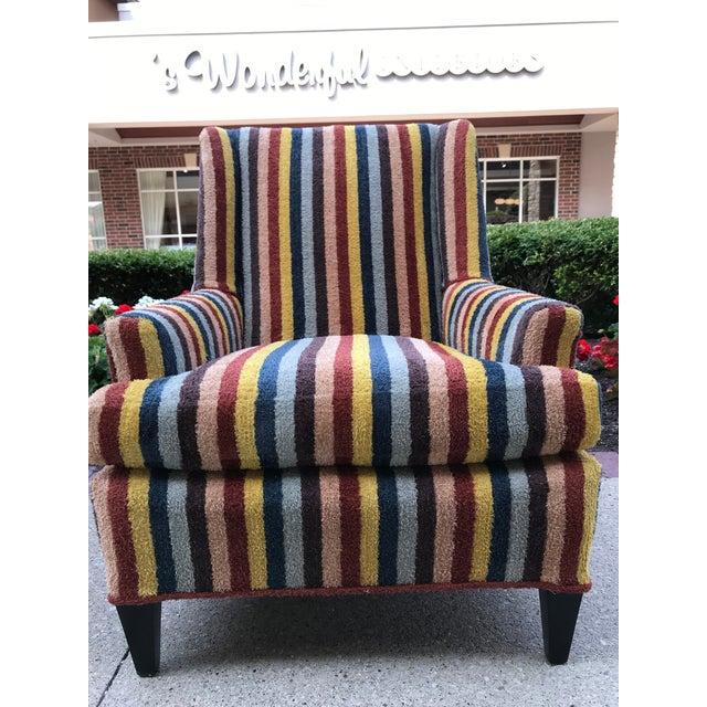Textile Vintage Century Furniture Kravet Vespa Multi Color Stripe Club Chairs - a Pair For Sale - Image 7 of 13