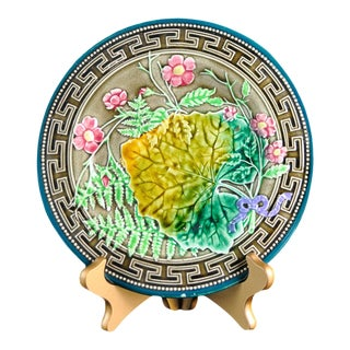 Late 19th Century Majolica Leaf, Fern and Flowers Plate For Sale