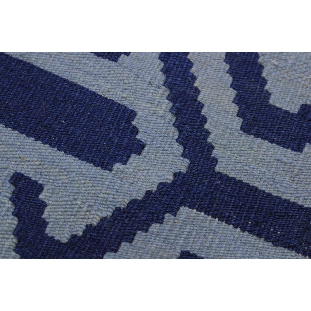 Contemporary Kilim Sager Blue Hand-Woven Wool Rug- 4′4″ × 5′9″ For Sale In New York - Image 6 of 8