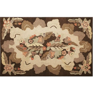 "American Cream & Brown Hooked Rug - 3'10"" x 6' For Sale"