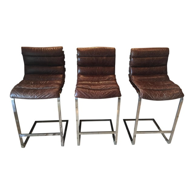 Restoration Hardware Oviedo Leather Bar Stool - Set of 3 For Sale