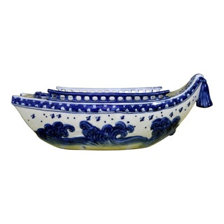 Blue & White Ceramic Boat Bowl