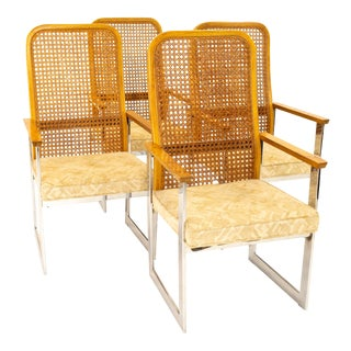 Milo Baughman for Lane Mid Century Cane Back Chrome Dining Chairs - Set of 4 For Sale