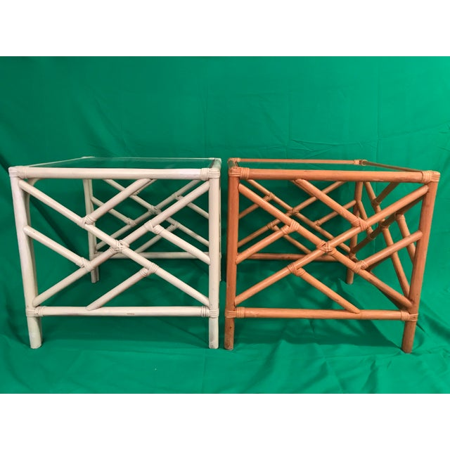 White 20th Century Chinese Chippendale Rattan Side Tables With Clear Glass Top - a Pair For Sale - Image 8 of 8