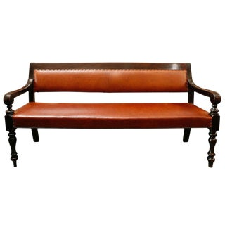 19th Century English Ebnonized and Upholstered Leather Bench From Masonic Lodge For Sale