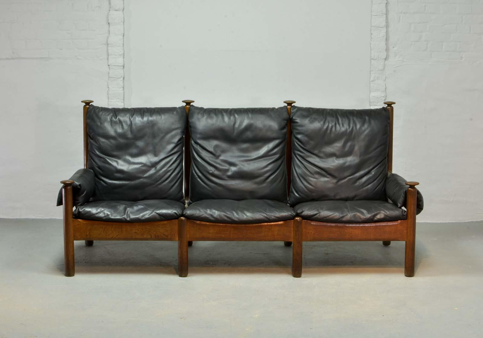 Incroyable Sturdy Mid Century Soft Black Leather Scandinavian Sofa Produced In The  1960s In Style Of