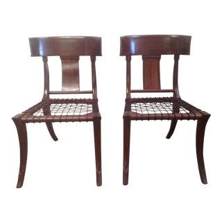 Modern Walnut Klismos Chairs- A Pair For Sale