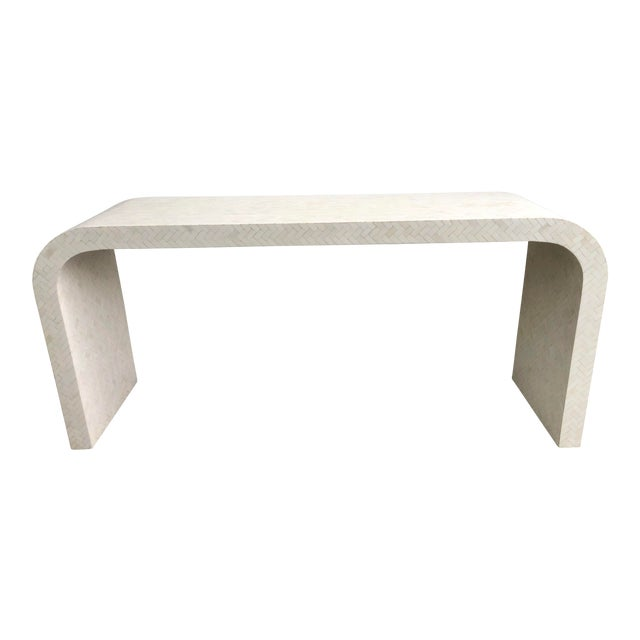 Modern Tessellated Bone Waterfall Console Table For Sale