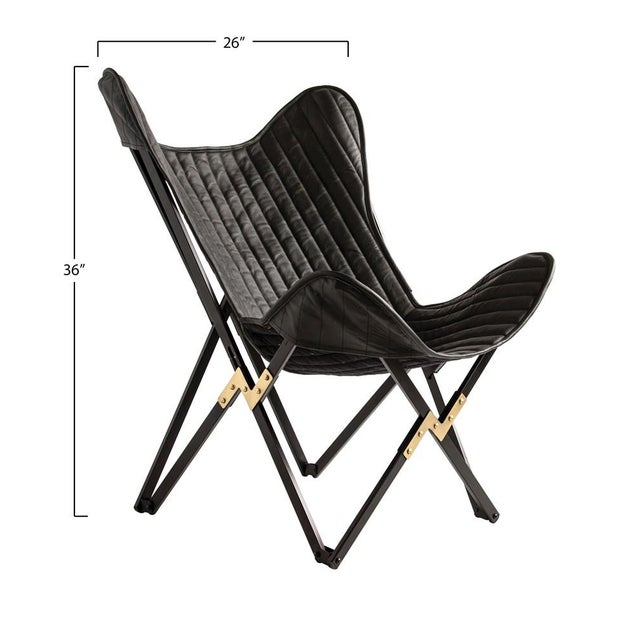 """Leather & Metal Foldable Butterfly Chair, Charcoal Color 26""""W x 28""""D x 36""""H"""