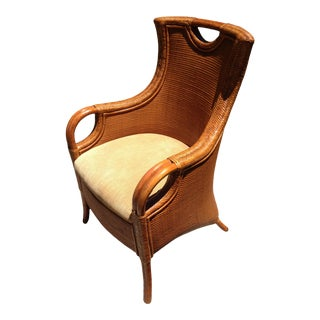 Modern Rattan & Bamboo Wingback Chair For Sale