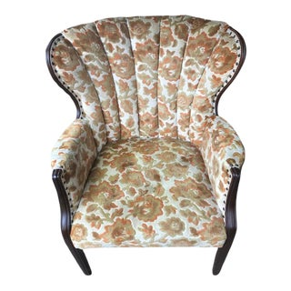 1940s Channel Wingback Chair For Sale