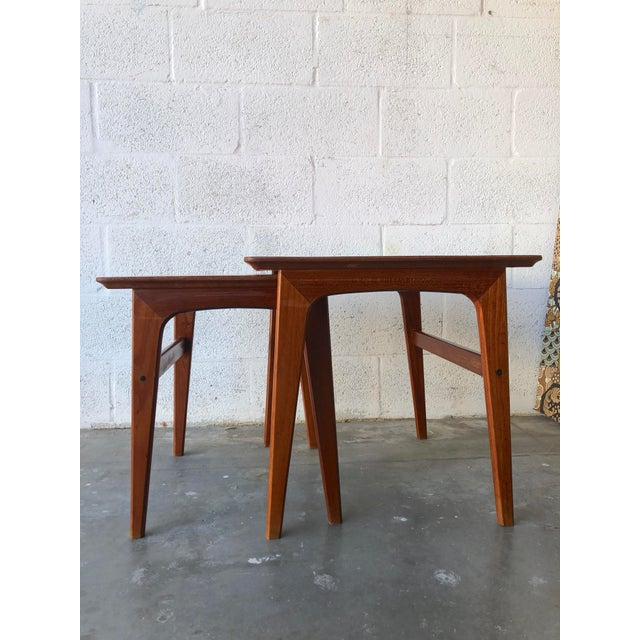 Mid-Century Modern Vintage Mid-Century Danish Modern Nesting Tables (Set of Two) For Sale - Image 3 of 13