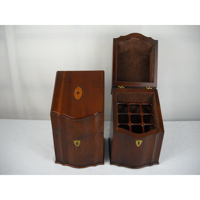 Georgian-Style Inlaid Knife Boxes - A Pair - Image 6 of 10
