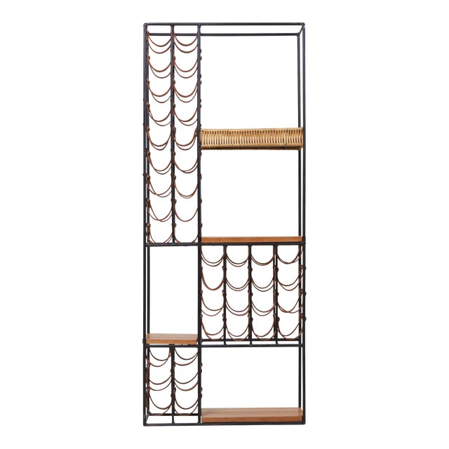 Wrought Iron Wine Rack by Arthur Umanoff for Raymor , Us, 1950s For Sale