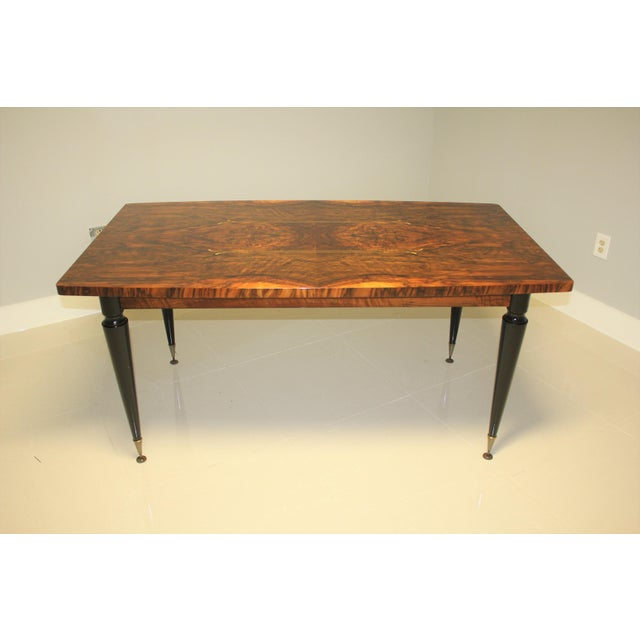 1940s French Art Deco Exotic Burl Walnut Writing Desk / Dining Table For Sale - Image 13 of 13