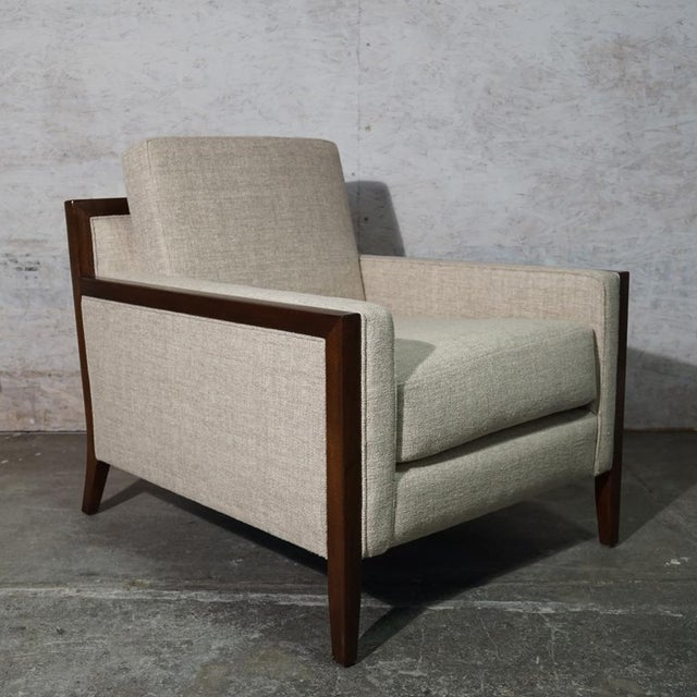 Lounge Chair Mahogany Mid Century Modern Lounge Chair Upholstered in a Beige Cotton Linen. Very generous proportions! (two...