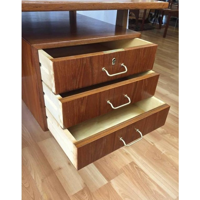 Teak & Oak Floating Top Executive Desk For Sale In San Francisco - Image 6 of 10