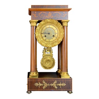 Antique French Portico Clock Empire With Inlaid Wood and Gilt Decoration For Sale