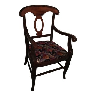 Dark Walnut Designer Accent Arm Chair With Asian-Inspired Upholstery For Sale